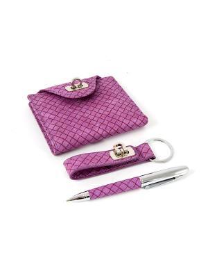 Подарочный набор: бумажник, ручка, брелок 21*16*4см Русские подарки. Цвет: фиолетовый