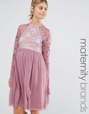 Little Mistress Maternity Короткое приталенное платье для беременных с длинными рукавами. Цвет: фиолетовый