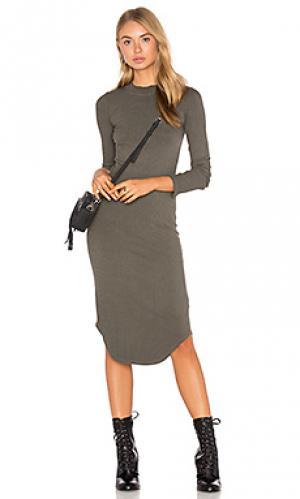 Платье с длинным рукавом и овальным вырезом MONROW. Цвет: оливковый