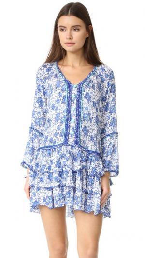 Мини-платье Boho Poupette St Barth. Цвет: голубой маковый
