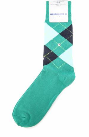 Хлопковые носки King Burlington. Цвет: темно-зеленый