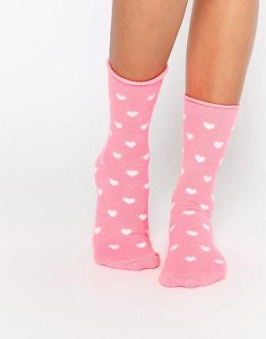 Plush Носки с сердечками. Цвет: розовый