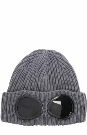 Шерстяная вязаная шапка C.P. Company. Цвет: серый