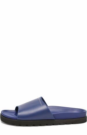Кожаные шлепанцы на резиновой подошве Giuseppe Zanotti Design. Цвет: темно-синий