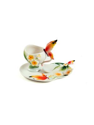 Подарочный чайный набор Бабочки на 1 персону Русские подарки. Цвет: белый, зеленый, красный