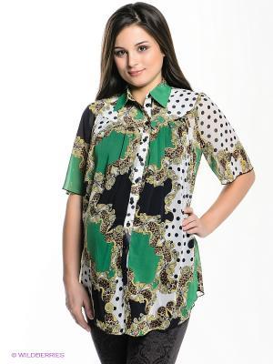 Блузка Nuova Vita. Цвет: зеленый, желтый, белый, черный