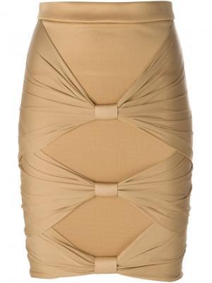 Драпированная юбка Balmain. Цвет: телесный
