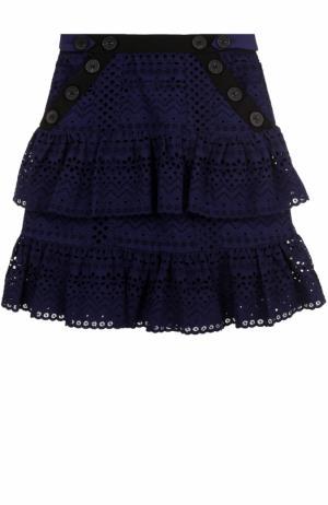 Хлопковая мини-юбка с кружевной отделкой self-portrait. Цвет: темно-синий