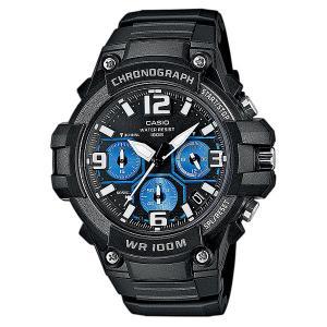 Часы  Collection Mcw-100h-1a2 Black/Blue Casio. Цвет: черный,голубой