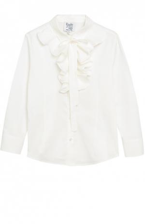 Хлопковая блуза с бантом Aletta. Цвет: кремовый