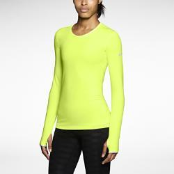 Женская спортивная футболка  Pro Warm Crew 3.0 Nike. Цвет: желтый