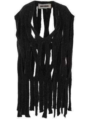Удлиненный топ из полос ткани Uma Wang. Цвет: чёрный