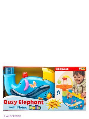 Развивающая игрушка Забавный слон с шарами Kiddieland. Цвет: голубой