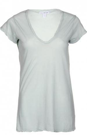Хлопковая футболка с V-образным вырезом James Perse. Цвет: светло-зеленый