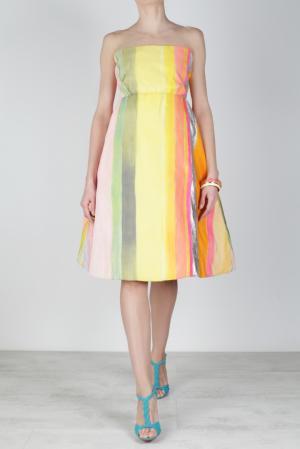 Шелковое платье Issac Mizrahi. Цвет: желтый, белый розовый, оранжевый