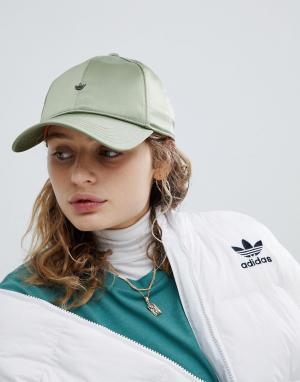 Adidas Originals Зеленая атласная кепка. Цвет: зеленый