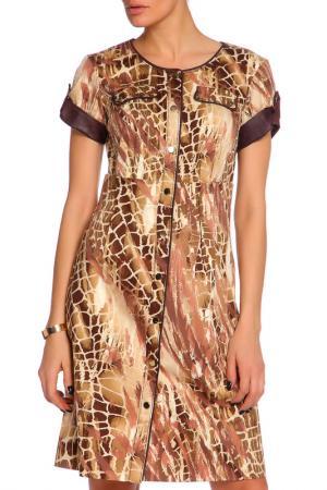 Летнее платье сафари Caterina Leman. Цвет: бежевый-коричневый 03-04