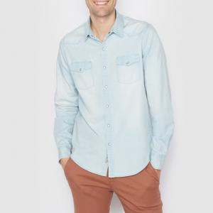 Рубашка джинсовая стандартного покроя. Длинные рукава SOFT GREY. Цвет: выбеленный