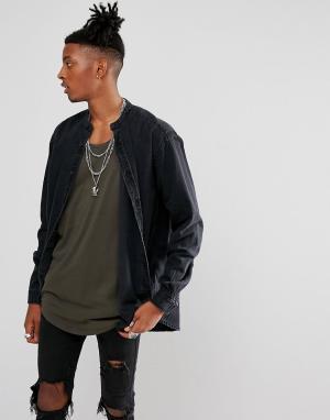 ASOS Свободная джинсовая рубашка. Цвет: черный