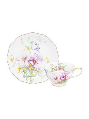 Чайная пара Нежные цветы Elan Gallery. Цвет: розовый, желтый, зеленый