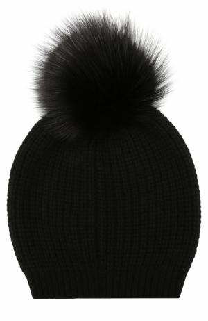 Кашемировая вязаная шапка с меховым помпоном William Sharp. Цвет: черный