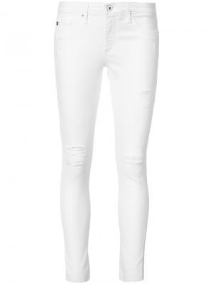 Рваные джинсы скинни Ag Jeans. Цвет: белый