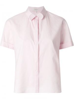 Укороченная рубашка с отворотами на воротнике Delpozo. Цвет: розовый и фиолетовый