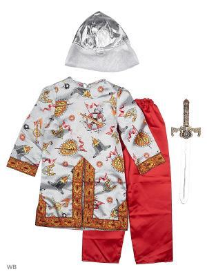 Карнавальный костюм Богатырь сказочный Батик. Цвет: темно-серый, белый, красный