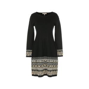 Платье однотонное короткого и расклешенного покроя с длинными рукавами RENE DERHY. Цвет: черный/ белый