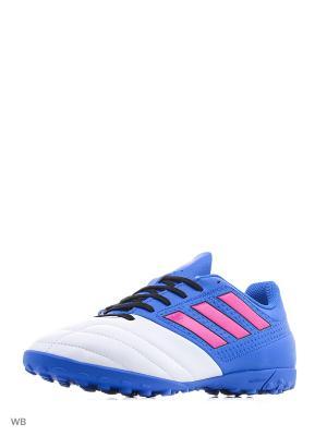 Футбольные бутсы (шиповки) муж. ACE 17.4 TF BLUE/SHOPIN/FTWWHT Adidas. Цвет: синий, белый