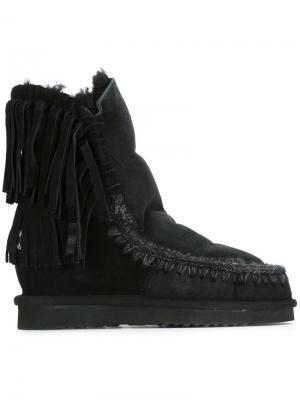 Ботинки Short Fringe Eskimo Mou. Цвет: чёрный