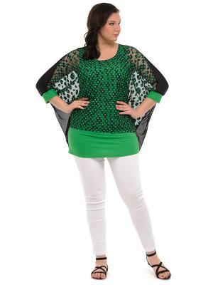 Блузка SVESTA. Цвет: черный, зеленый