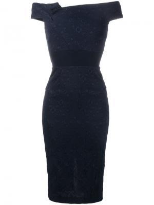 Платье Monamy с открытыми плечами Roland Mouret. Цвет: синий