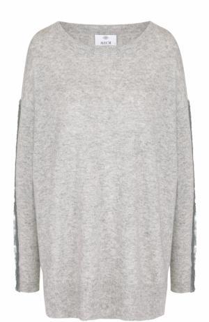 Пуловер свободного кроя из смеси шерсти и кашемира Allude. Цвет: серый