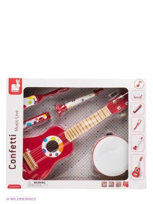 Набор музыкальных инструментов (гитара, бубен,губная гармошка,дудочка,трещетка) Janod. Цвет: красный
