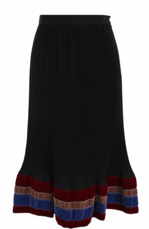 Плиссированная юбка-миди с бархатной отделкой Stella Jean. Цвет: черный