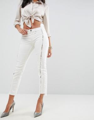 ASOS Бежевые джинсы скинни с заниженной талией и шнуровкой PREMIUM WHI. Цвет: белый