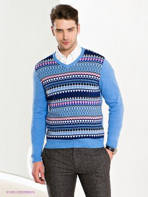 Пуловер GroStyle. Цвет: голубой, темно-синий