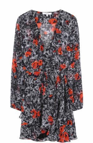 Приталенное мини-платье с оборками и принтом Iro. Цвет: разноцветный