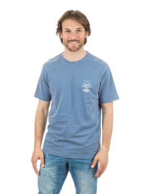 Футболка  BACK TO THE SEARCH SS TEE Rip Curl. Цвет: голубой