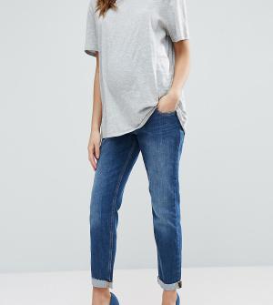 ASOS Maternity Выбеленные джинсы бойфренда для беременных Kimmi. Цвет: синий