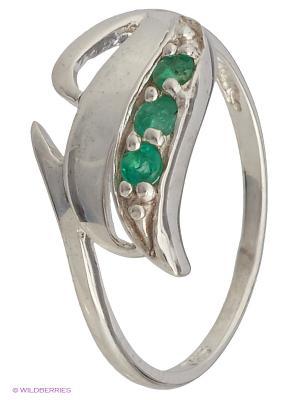 Кольцо Silver Wings. Цвет: зеленый