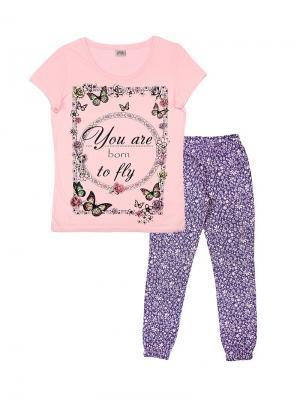 Комплект женский (футболка, брюки) Family Colors. Цвет: бледно-розовый