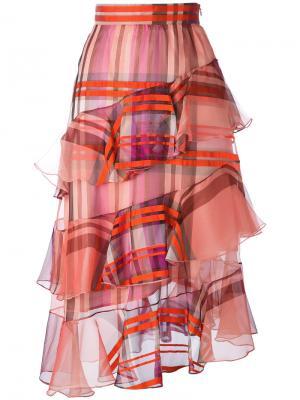 Юбка в клетку с оборкой Daizy Shely. Цвет: розовый и фиолетовый