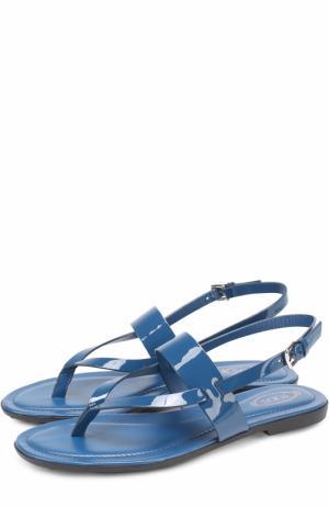 Кожаные сандалии на контрастной подошве Tod's. Цвет: синий