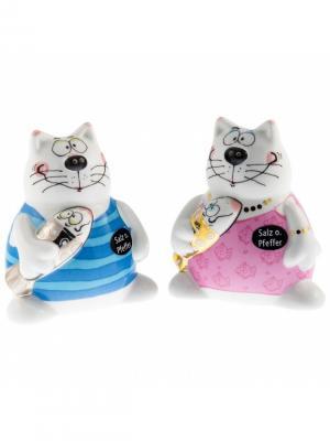 Набор для специй Кошки и рыба Goebel. Цвет: голубой, белый, розовый