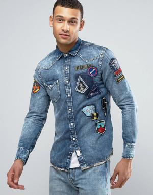 Replay Джинсовая рубашка классического кроя с нашивками. Цвет: синий