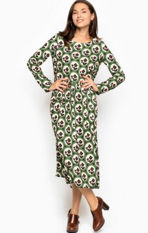 Платье POIS. Цвет: зеленый, цветочный принт