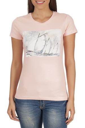 Футболка Galvanni. Цвет: pink and white