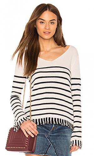 Striped fringe v neck White + Warren. Цвет: белый